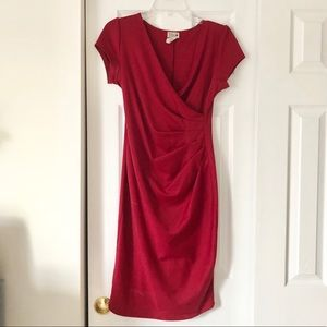 ModCloth Celine stretch red ruched dress M